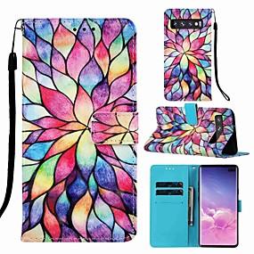 voordelige Galaxy S7 Hoesjes / covers-case voor samsung galaxy s8 plus / s9 plus patroon / flip / met stand full body cases cartoon / bloem hard pu leer voor galaxy s10 / galaxy s10 plus / galaxy s10 e