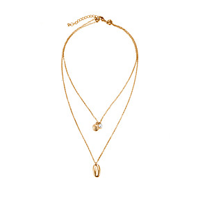 billige Lagvise halskjeder-Dame lagdelte Hals Multi Layer Skall Vintage Victoriansk Chrome Gull 40 cm Halskjeder Smykker 1pc Til Daglig Gate