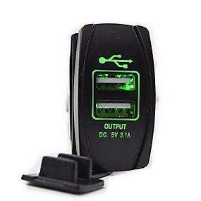 voordelige Autoladers-5v 3.1a autolader dubbele usb-poorten led voltmeter voor vrachtwagen auto motorfiets suv