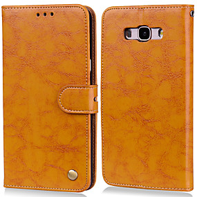 cheap Samsung Accessories-Case For Samsung Galaxy J7(2016) Card Holder / Flip Full Body Cases Solid Colored Hard PU Leather for J7 (2016)