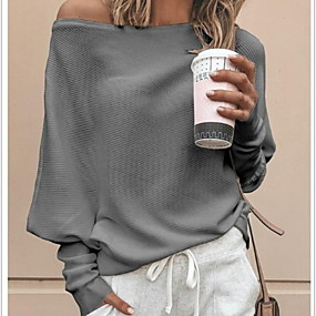 cheap Women's Sweaters-Women's Solid Colored Long Sleeve Loose Pullover, Off Shoulder Black / White / Red S / M / L