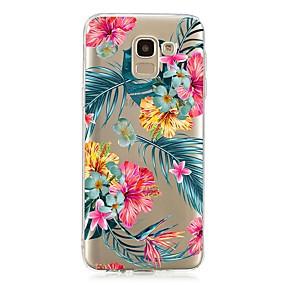 voordelige Galaxy J3(2017) Hoesjes / covers-hoesje Voor Samsung Galaxy J7 (2017) / J6 (2018) / J5 (2017) Schokbestendig / Transparant / Patroon Achterkant Bloem TPU