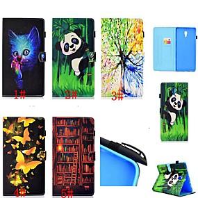 voordelige Galaxy Tab E 9.6 Hoesjes / covers-hoesje Voor Samsung Galaxy Tab 4 10.1 / Tab S4 10.5 (2018) / Tab A2 10.5(2018) T595 T590 Kaarthouder / Schokbestendig / met standaard Volledig hoesje Kat / Vlinder / Panda Hard PU-nahka