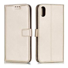 levne iPhone pouzdra-Carcasă Pro Apple iPhone X / iPhone 8 / iPhone 8 Plus Peněženka / Nárazuvzdorné / Flip Celý kryt Jednobarevné Pevné PU kůže pro iPhone XS / iPhone XR / iPhone X