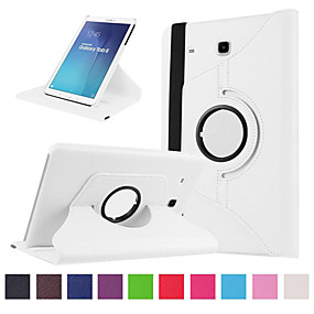 voordelige Galaxy Tab E 9.6 Hoesjes / covers-hoesje Voor Samsung Galaxy Tab E 9.6 Kaarthouder / Schokbestendig Volledig hoesje Effen Hard PU-nahka