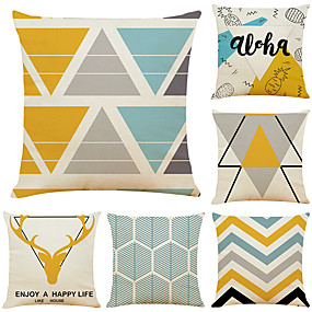 baratos Casa & Cozinha-Conjunto de 6 geométrica chifre de linho decorativo decorativo lance fronhas capas de almofada sofá 18x18