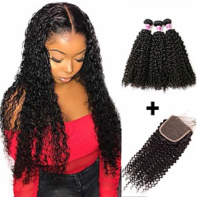 cheap Hair Extensions-3 Bundles with Closure Brazilian Hair Kinky Curly Human Hair Unprocessed Human Hair Headpiece Natural Color Hair Weaves / Hair Bulk Bundle Hair 8-20 inch Natural Color Human Hair Weaves Hot Sale