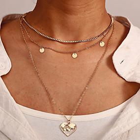 billige Lagvise halskjeder-Dame lagdelte Hals Chrome Gull 35+3 cm Halskjeder Smykker 1pc Til Gave Daglig Arbeid Love Festival