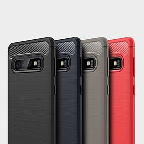 voordelige Galaxy S7 Edge Hoesjes / covers-hoesje voor samsung galaxy s10 5g / s10 plus / s10e schokbestendig / ultradunne achterkant effen koolstofvezel hoesje voor samsung galaxy s9 plus / s8 plus / s7 edge / s9 / s8 / s7