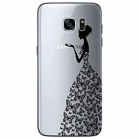voordelige Galaxy S7 Edge Hoesjes / covers-hoesje voor Samsung Galaxy S7 Edge Ultradun / Transparant / Patroon Achterkant Cartoon TPU