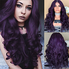 cheap Wigs & Hair Pieces-Synthetic Wig Body Wave Style Middle Part Machine Made Wig Dark Purple Synthetic Hair 26 inch Women's Women Purple Wig Long Natural Wigs