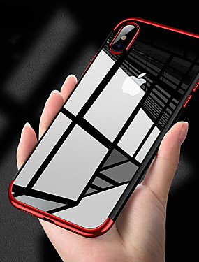 cheap iPhone 8 Cases-Case For Apple iPhone X / iPhone 8 / iPhone XS Plating / Ultra-thin / Transparent Body Back Cover Solid Colored Soft TPU for iPhone XS / iPhone XR / iPhone XS Max