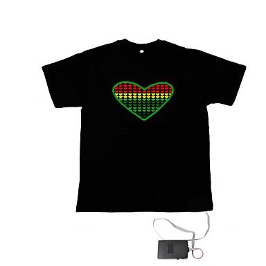 ääni ja musiikki aktivoitu el Visualizer VU-taajuuksien tanssija t-paita (4 * AAA)