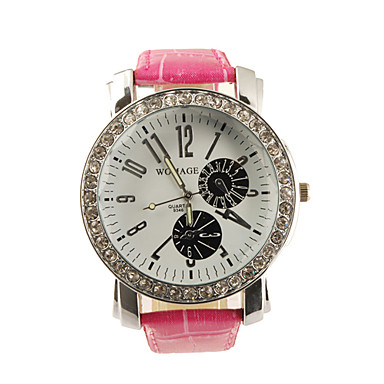 Big Dial PU Leather Band Crystal Characteristic Women Girl Ladies Wrist Watch - Pink