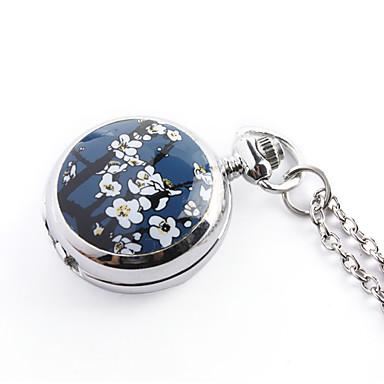 antigo orquídea quartzo pequenos bolso cadeia colar relógio (azul)