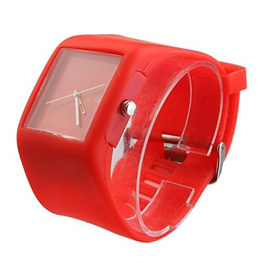 Silicone Band Fashion Women Men Unisex Casual Jelly Sport Watch - Red