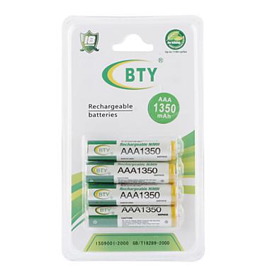 BTY 1350mah AAA Ni-MH oppladbart batteri sett (4-pack)
