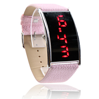 kvinnor röd LED digital rosa pu band armbandsur