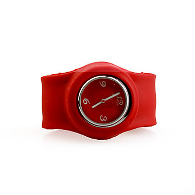 Silicone Band Fashiona Men Casual Jelly Clap Watch - Red