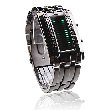 Black Band Double Row Arrayed Natural Green LED Wrist Watch