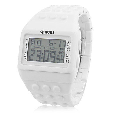 unisex lcd digital blocket tegel stil gummiband armbandsur (vit)