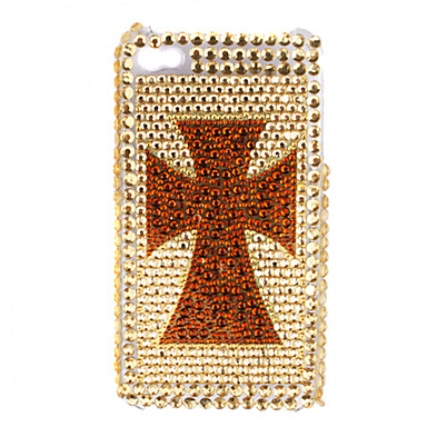 Premium Protective Back Case with Crystals for iPhone 4 (Golden-Cross Pattern)