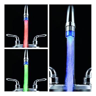 スタイリッシュな水パワードキッチンつながっ蛇口ライト(プラスチック、クローム仕上げ、青)