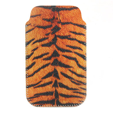 Protective Tiger Stripes Style Soft PU Leather Bag for iPhone