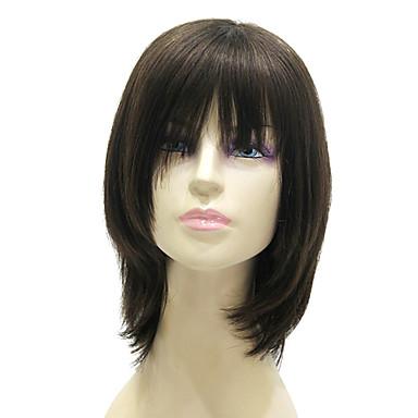 kapaksız orta, uzun siyah ipeksi düz% 100 insan saçı peruk