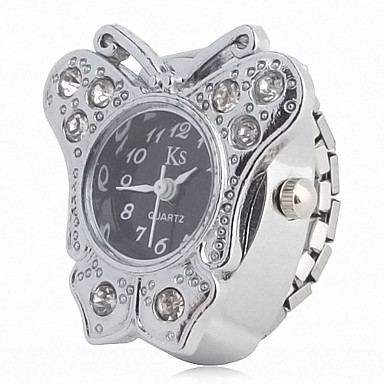 Women's Fashionable Alloy Analog Ring Watch with Butterfly-shaped Case (Silver)