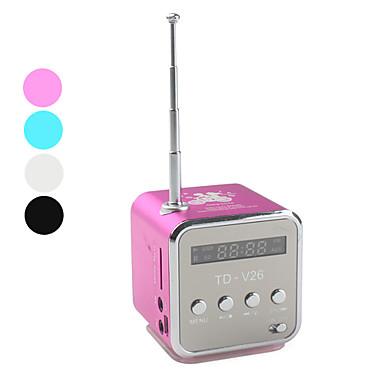 Digital kubisk mini-FM radio/høyttaler (MikroSD, USB, FM-radio, assorterte farger)