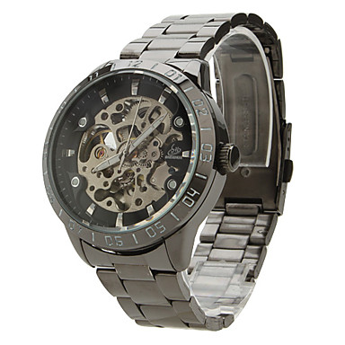 SHENHUA Men's Automatic self-winding Mechanical Watch Wrist Watch Hollow Engraving Stainless Steel Band Charm Black