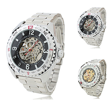 Men's Alloy Analog Mechanical Wrist Watch (Silver)
