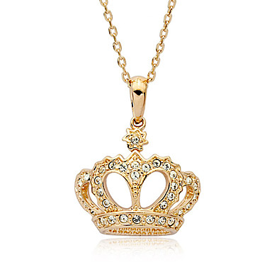 Lureme®Diamond Inlaid Crown Pendant Necklace