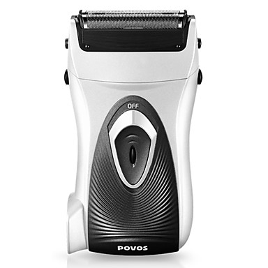 POVOS Rechargeable Dual blade Foil Shaver with Built-in Plug (Silver)
