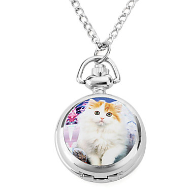 Women's Cute Cat Alloy Analog Quartz Necklace Watches (Silver) Cool Watches Unique Watches