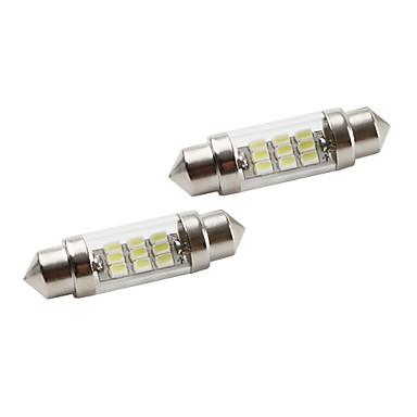 37mm 9*1206 SMD White LED Car Signal Lights (2-Pack, DC 12V)