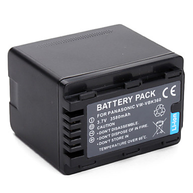 Panasonic VW-VBK360 Equivalent Camcorder Battery for HDC, SDR and HC-V Series