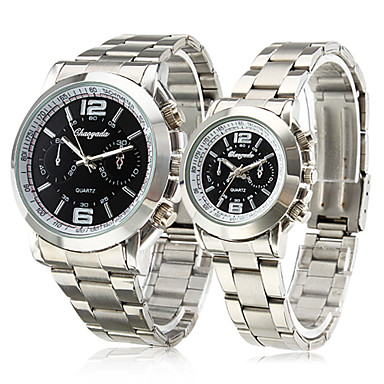 Business Pair of Alloy Analog Quartz Couple's Watches with Black Face (Silver)