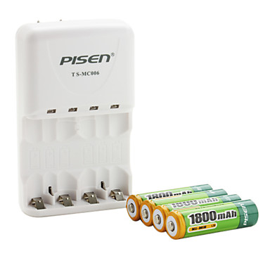 Pisen AA AAA Battery Charger with 4 x 1800mAh Ni-MH AA Rechargeable Battery