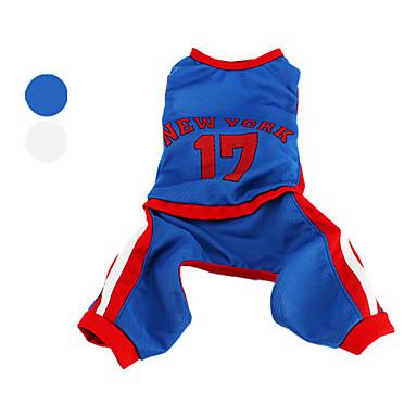 Perro Disfraces Mono Camiseta Ropa para Perro Cosplay Deportes Letra y Número Blanco Azul Disfraz Para mascotas