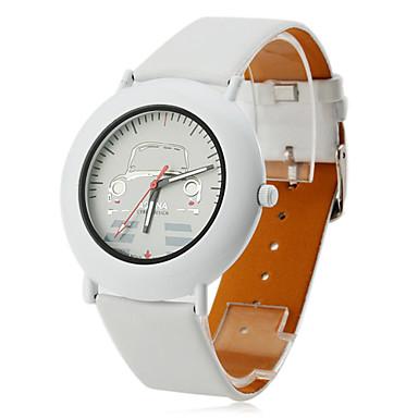 Women's Car Style PU Analog Quartz Wrist Watch (White)