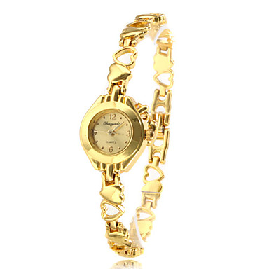 Women's Gold Alloy Heart Shaped Band Quartz Analog Bracelet Watch Cool Watches Unique Watches Fashion Watch
