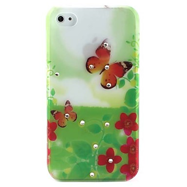 Two Butterflies Pattern Ultra Thin Hard Case for iPhone 4 and 4S