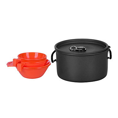 2-3 People Camping Cookset(1.2L Pot+2PCS 200ML Bowl+2PCS 175ML Cup)