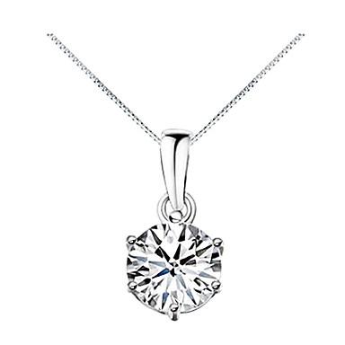 Pentru femei Diamant Zirconiu Cubic Solitaire simulat Coliere cu Pandativ Zirconiu Zirconiu Cubic Modă Argintiu Coliere Bijuterii Pentru Zilnic