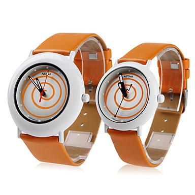 Coppia stile unisex pu analogico al quarzo orologio da polso (arancione)
