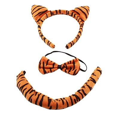 Plüsch 3-in-1 lovely tiger Ohr-Kopfband + bow tie + tail Kostüm Set für Halloween Masquerade Party