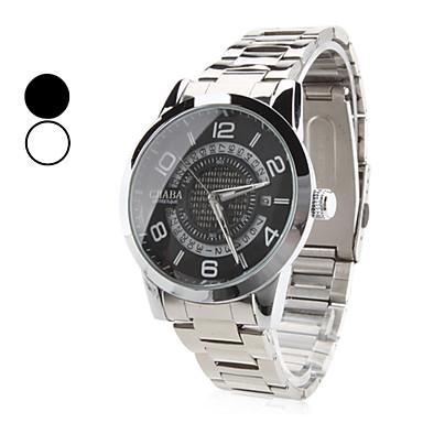 hombres aleación reloj analógico de pulsera mecánico con calendario (plata)
