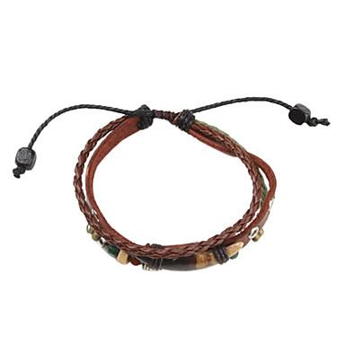 Men's Charm Bracelet Leather Bracelet Multi Layer Leather Fabric Alloy Jewelry Sports